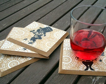 Hand Crafted Coasters set of 4 - Alice in Wonderland - Mad Hatter - Mr Rabbit - Cheshire Cat - mdf handmade and screen printed