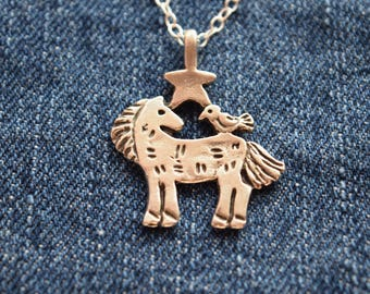 Horse Silver Necklace, Barnyard Friends Necklace, Pewter Horse pendant with tweety bird and star, sterling silver necklace