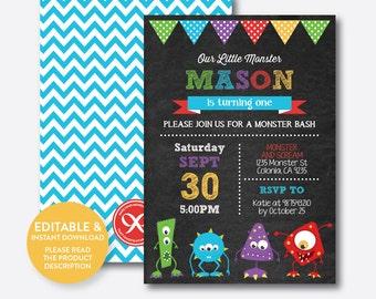 Instant Download, Editable Monster Birthday Invitation, Monster Invitation, Monster Party Invitation, Monster Bash, Chalkboard (CKB.32B)