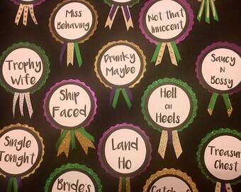 Mardi Gras Themed Bridal Shower Pins,  Bachelorette Party Pins
