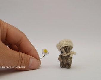 A thread doll - Miniature Teddy Bear - A Thread Artist Bear - Miniature Stuffed Bear - Teddy Bear - Stocking Stuffer , Woodland Creature