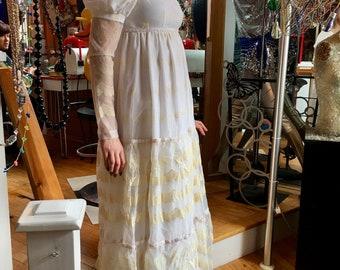 1970's Boho Bridal Dress, Wedding Dress, Cream and White