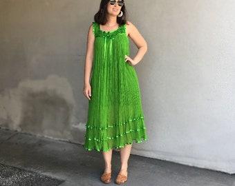 Vintage Cotton Gauze Dress / Mexican Cotton Gauze Dress / Bright Green Dress / Rare Vintage Dress / Boho Hippie Festival Dress / S M L