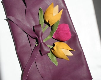 PURPLE handmade leather clutch with pink and yellow handmade leather tulips