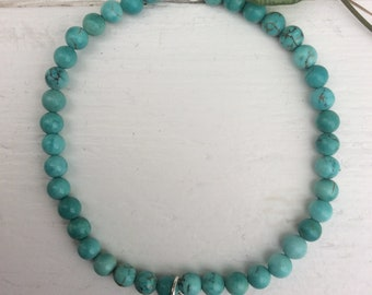 Bracelet Turquoise 4 mm (18 cm) with pendant lotus (925 Sterling)