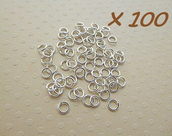Set of 100 Silver jump rings 4 x 0, 7 mm - L100845