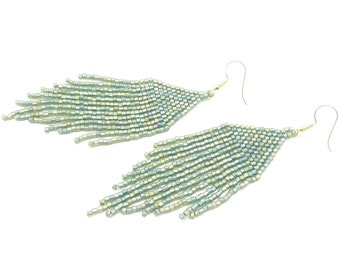 Large Native American Style Fringe Seed Bead Earrings