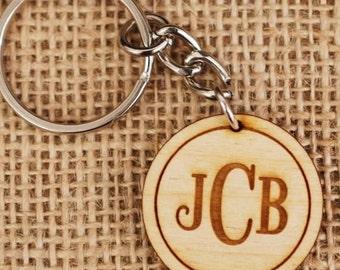 Personalized Wooden Keychain / Custom Monogram Engraved