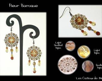 Earrings 'Fleur Baroque' - BRONZE + 2 Topaz