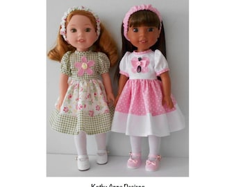 "PDF Applique dress sewing pattern fits 14 1/2"" dolls like Wellie Wishers"