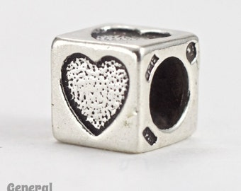 "5mm Sterling Silver ""Heart"" Alphabet Cube #SLB012"