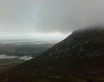 Desending Bengower In Mist Covered Connemara Photograph by Ruairí O'Neill