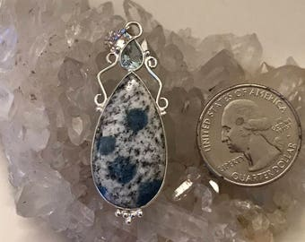 Azurite in Granite and Blue Topaz Pendant Necklace