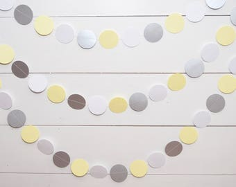 Paper Garland -  14ft - Silver and Yellow - Baby Shower Decoration - Birthday Party Garland - Gender Neutral Baby Shower