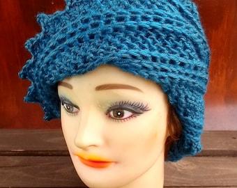 Crochet Hat Womens Hat Trendy,  Womens Crochet Hat,  Steampunk Hat,  Crochet Beanie Hat,  Ocean Blue Hat,  Lauren Beanie Hat for Women