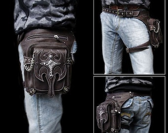 Leather Waist Bag for Bikers  / wb3634t18