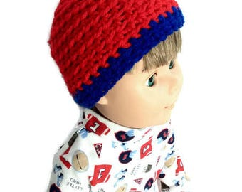 18 Inch Boy Doll Beanie, Red and Blue Crocheted Doll Hat, Striped Beanie, Boy Doll Clothes
