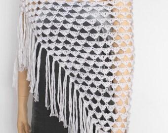 White  shawl Scarf  wrap crochet shawl Wedding shawl    Fringe shawl fringe scarf Crochet Shawl