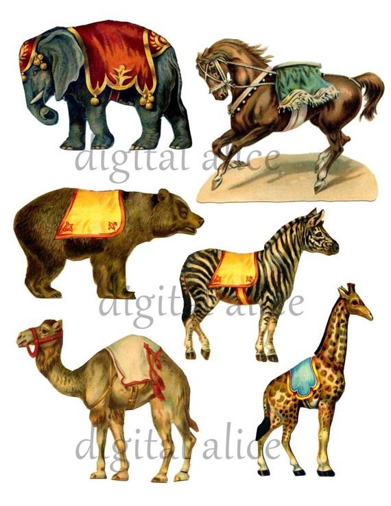 vintage circus animals clip art digital download double rh etsy com vintage circus tent clip art Circus Theme Clip Art