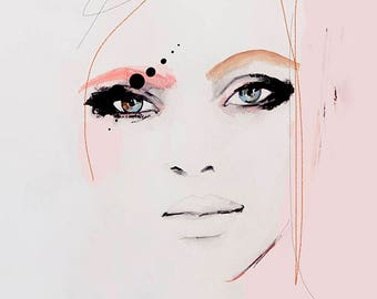 Kiss Kiss  - Fashion Illustration Art Print ,Portrait, Mixed Media Painting by Leigh Viner