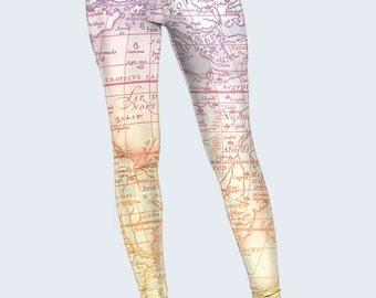 World Map Leggings, Travel Leggings for Women, Beige Leggings, Leggings Women, Patterned Leggings, Fashion Leggings, Gift for Traveller