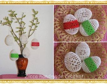 Crochet Easter eggs -set of 5- PDF pattern, Crochet  Easter eggs ornament pattern