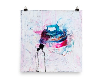 """Big Size Art Print of """"Submarine in the snow"""" abstract painting"""