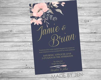 Wedding Invitation, Bridal Shower Invitation, Floral Invitation, 5x7 or CUSTOM