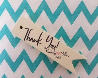 Thank You Wedding Favor Tags - Index Off White Personalized Tags PT006