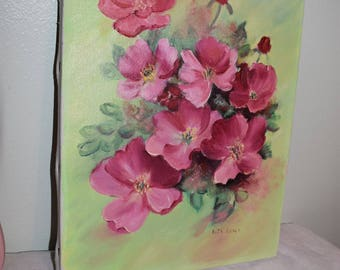 Pink and green floral oil on canvas