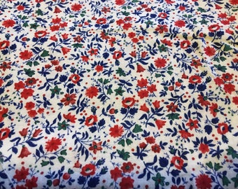 Blue and Red Tiny Flowers and  Blue Leaves - Vintage  Fabric-54 inches