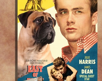 Bullmastiff Vintage Movie Style Poster Canvas Print   Perfect DOG LOVER GIFT Gift for Her Gift for Him Home Decor