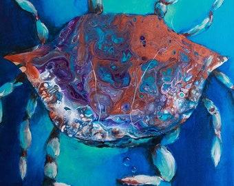 Blue Crab Acrylic Pour Print 8x8