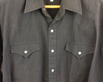 Vintage Black Western Pearl Snap Shirt Mens Snap Shirt XL