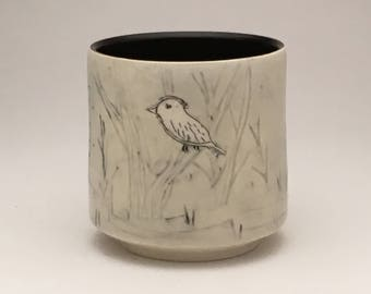 Bird, Birches and Moon- winter woods cup-mug- Ruchika Madan