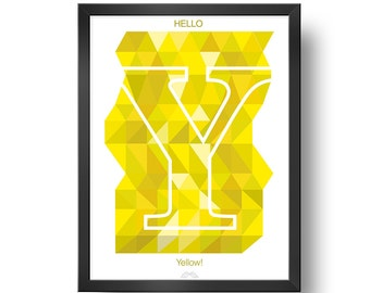 Hello YELLOW | Downloadable print | Printable design | Digital print | Typography | Design art