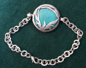 Antique Turkish Silver and Turquoise bracelet
