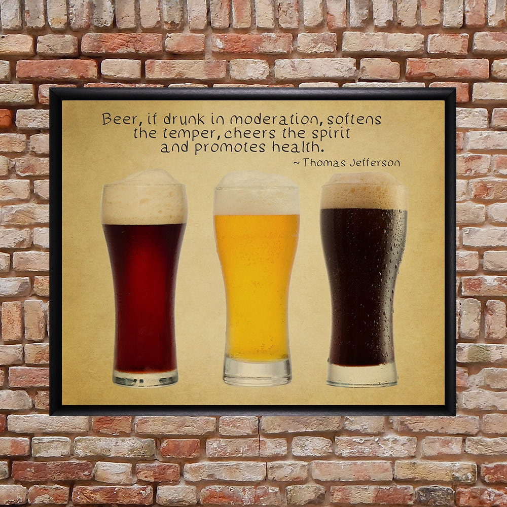 Beer Poster Bar Art Beer Print Thomas Jefferson Quote