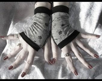 Stormy Weather Fingerless Gloves - Grey & Black Storm Clouds Lightening Stars - Lolita Gothic Vampire Hooping Dark Bellydance Emo Gloomy