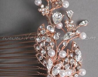 Rose Gold Rhinestone and Pearl Bridal Comb, Rose Gold Leaf Wedding Headpiece - Natasha