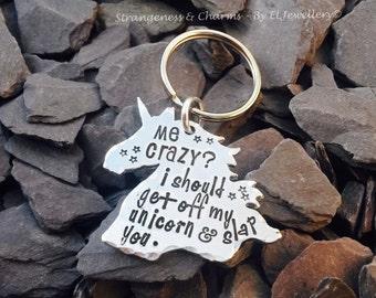Hand Stamped 'Crazy Unicorn' Aluminium Unicorn Head Keyring, Unicorn Jewellery, Keychain, Unicorns, Unique Design,Humorous, Christmas Gift,