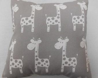 """Giraffes on Grey Nursery Cushion Cover 40cm x 40cm (16""""x16"""")"""