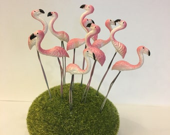 5 pcs. Terrarium Mini Pink Flamingo Stake Miniature Dollhouse Fairy Garden accessories, Miniature Dollhouse, Garden accessories