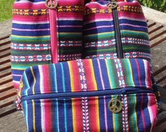 Guatemalan Weave Bag, Dead Gifts, From Jerry's Shirt to a Ditty Bag, Toiletry Kit, Cosmetics Pouch, Boho Woven Pouch, Vintage 1960s Fabric