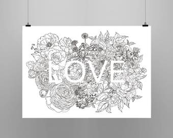 Faith Hope Love ~ Floral Flower Black and white Ilustration ~ Art & Design Print