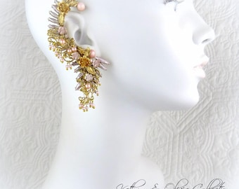Pale Pink  and Gold Filigree Flower Bridal Ear Cuff Coordinated Filigree Drop Earring