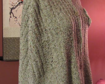 Multi Color Oatmeal Shawl Poncho Cape with Pearlized Button Closure and Flower - Size S/M