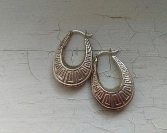 Vintage 1980's Sterling Silver Hoop Earrings With Greek Key Design