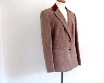 tweed velvet blazer - 70s vintage wool evan-picone tan brown burgundy maroon boxy structured boho coat jacket long sleeves strong shoulders