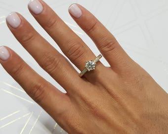 1.2 Carat, Round Brilliant Diamond Engagement Ring, 14K Yellow Gold, Side Stone Ring, Yellow Gold Ring, Round Diamond, Pave Diamond Ring